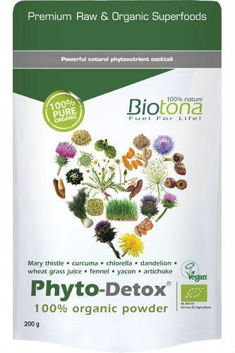 Biotona Phyto-Detox 100% Organic Powder.Das Biotona Phyto Detox Powder enthält: - Samen der Mariendistel  - Curcuma (indische Gelbwurz)  - Chlorella (eine grüne Süßwasseralge mit Phytonährstoffen)  - Weizengrassaft  - Löwenzahnwurzel  - Fenchelsamen  - Yacon  - Artischockenblätter.