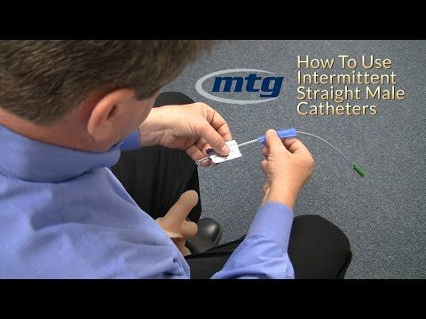 How To Use A Urinary Intermittent Straight Male Catheter Youtube
