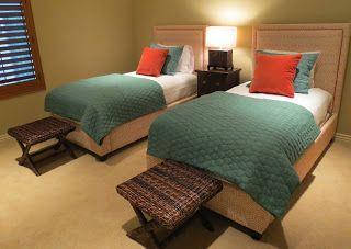X Base Bed Bench + Coral and Teal Kids Room + Upholstered Beds, c2Design