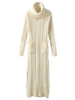 Shop Beige Longline High Neck Back Slit Knit Dress from choies.com .Free shipping Worldwide.$39.99