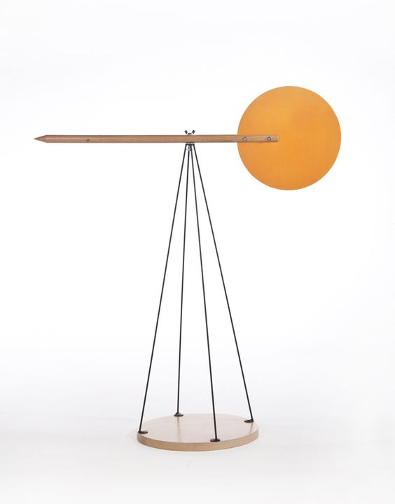 Mr Dean Brown, 2012 Wind Point, an object for measuring and appreciating the wind. A wood surface catches the wind, a point indicates direction, and linear structure depicts the four compass marks.