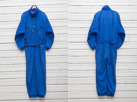 1980s A Bright Blue Skirwear Onepiece Snow Suit by by CoverVintage, $69.00