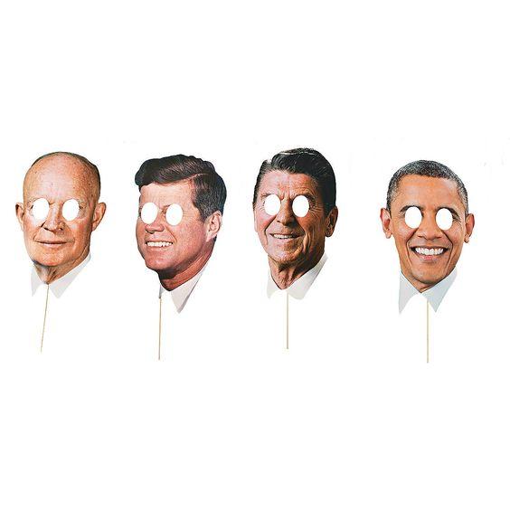 Modern Day Presidents 4-pack Stick Prop Masks