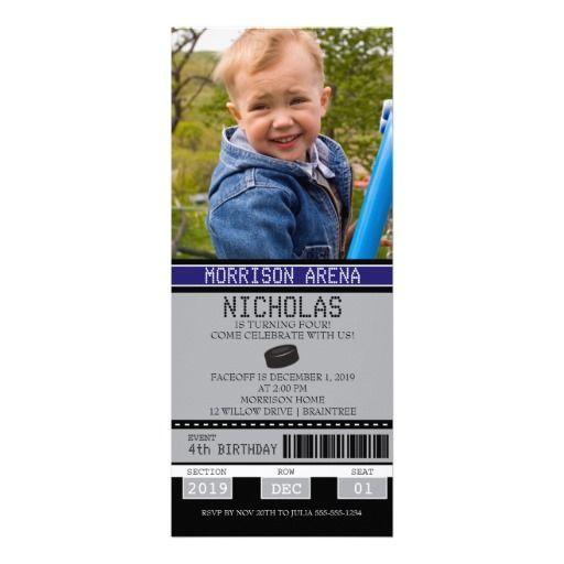 Hockey Ticket Birthday Custom Announcement