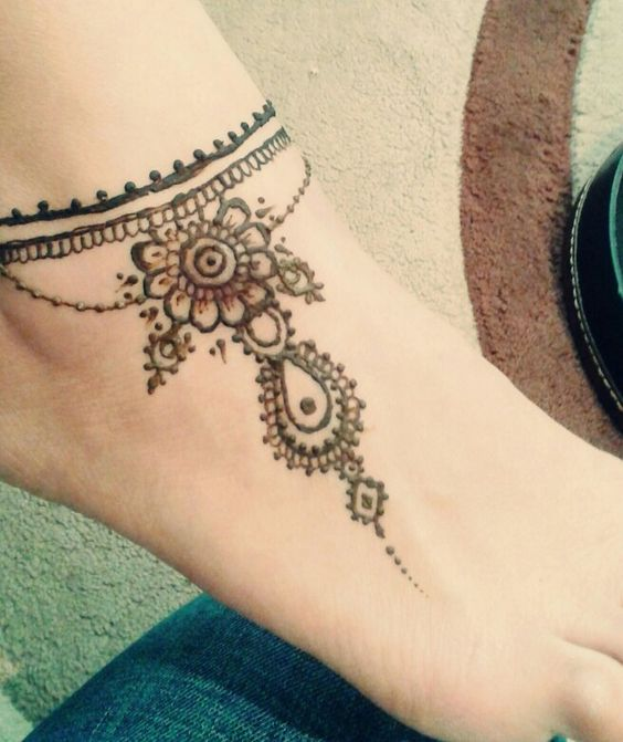 Ankle Henna Tattoo: Ankle Tattoos, Henna And Anklet On Pinterest