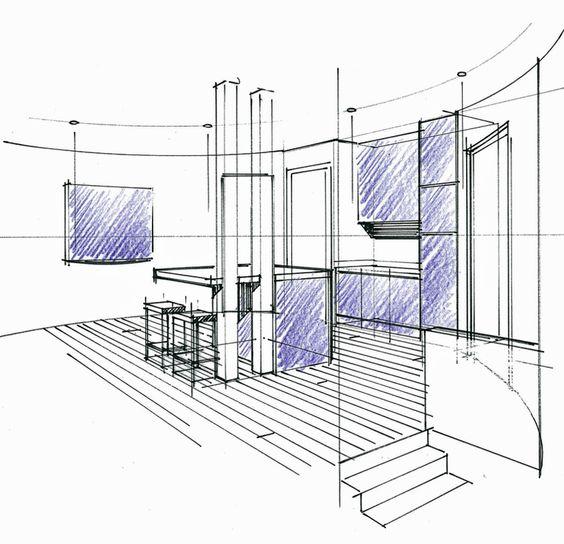 Perspective d 39 un concept en combles avec cuisine ouverte for Architecte interieur cuisine ouverte