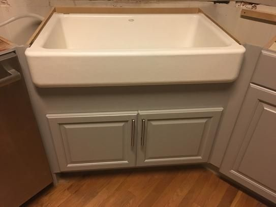 Hampton Bay Hampton Assembled 36x34 5x24 In Farmhouse Apron Front Sink Base Kitchen Cabinet In Natural Hickory Ksbd36 Nhk The Home Depot Apron Front Sink Corner Sink Kitchen Farmhouse Aprons