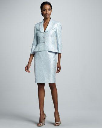 Metallic jacquard skirt suit by albert nipon at neiman for Neiman marcus dresses for wedding guest
