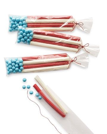 Flag Favors  A goody bag of candies arranged to resemble the American flag.    Start by partially filling a 2-by-10-inch cellophane bag with blue candies to stand in for stars. Then add red and white candy sticks to mimic stripes. Tie the bag with red waxed twine, and dont be surprised if you catch yourself humming Stars and Stripes Forever.
