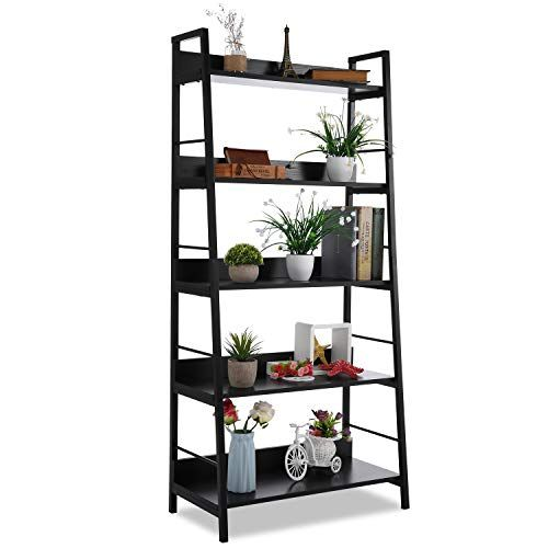5 Shelf Ladder Bookcase Industrial Bookshelf Wood And Metal