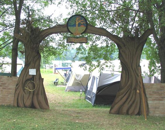"The gates to ""Morningwood play land"" at Pennsic. (Ugh! Funny pun, but bad... as all good puns are.) The horn on the left says ""Blow me!"" (Huzzah for bad puns... I think.)"