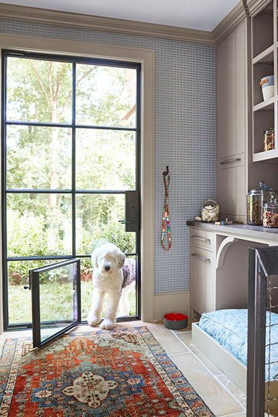 Home Pet Door Dachshund Kennel Puppy Dog Grooming Property Interior Design Furniture Floor Door Yellow House Dog In 2020 Home Dog Room Decor Built In Dog Bed