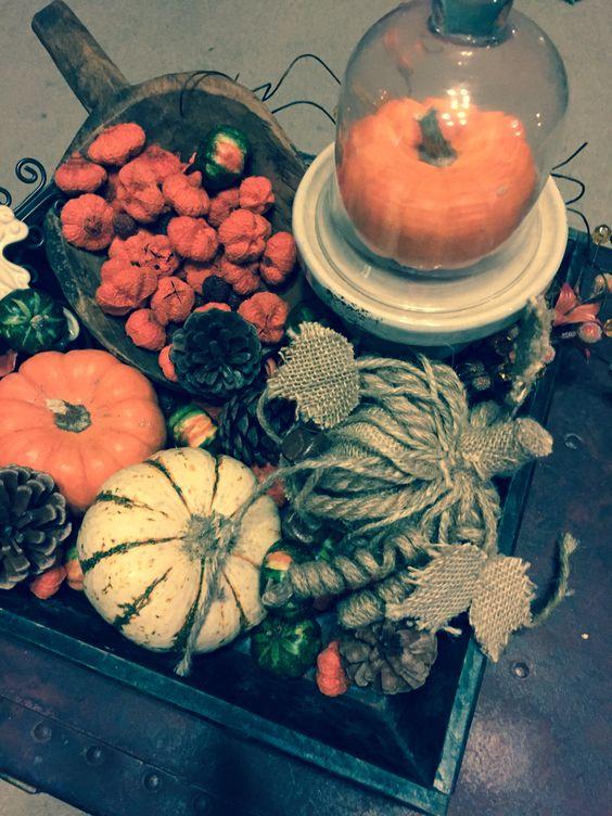 Wooden tray, cloche, and pumpkins. Fall decor