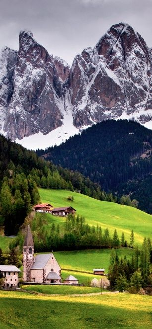 Church of St. Magdalena, Val di Funes, Italy... Very Sound of Music looking.....