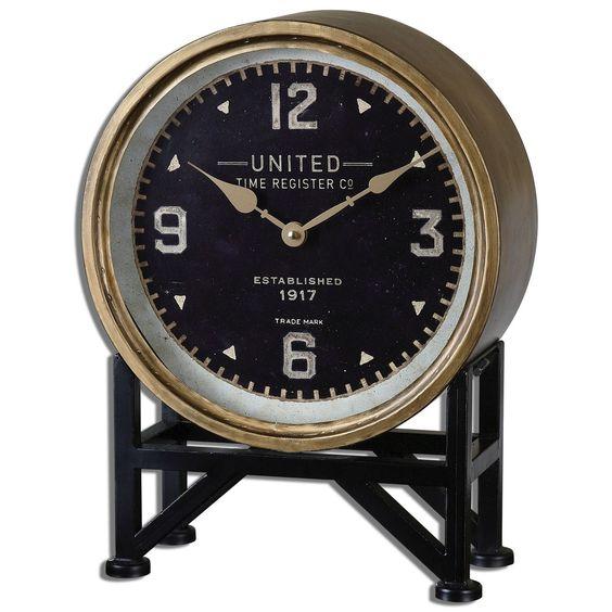 Clock, Bronze, Antique Brass, Traditional, Transitional