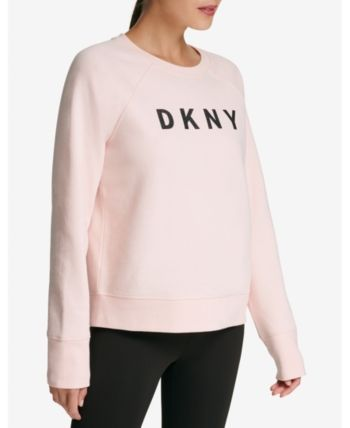Dkny Sport Sparkle Logo Fleece Sweatshirt Pink XL