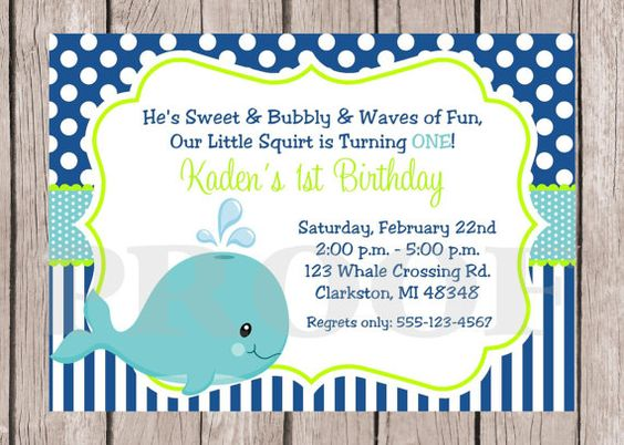Royal Blue And Lime Green Wedding Invitations: PRINTABLE Whale Birthday Party Invitation / Royal Blue