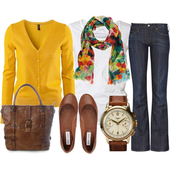 Perfect for fall. love the mustard color and trouser jeans
