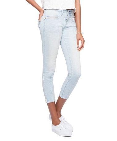 Look at this #zulilyfind! Post Light Zipper-Ankle Crop Skinny Jeans - Women #zulilyfinds