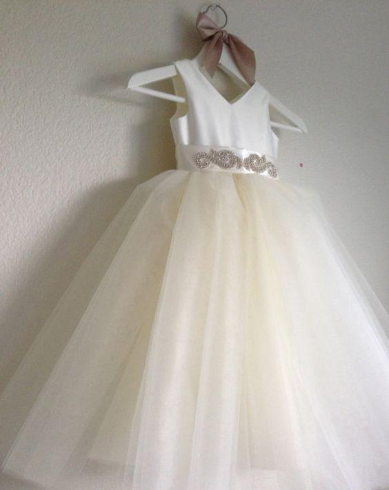 Ivory Tulle Flower Girl Dress