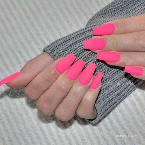 17 Sweet Hot Pink Nail Designs Pink Acrylic Nails Pink Nails