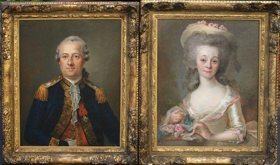 Portraits de Denis Gabriel Adhémar de Polastron, comte de Polastron, et de son épouse Marie Louise d'Esparbès de Lussan, vicomtesse puis comtesse de Polastron, 1780 Johan Ernst Heinsius