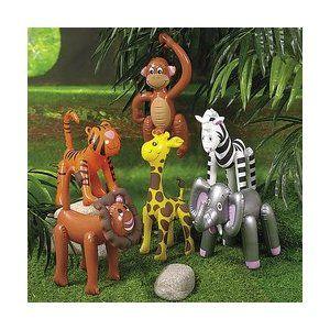6 Inflatable ZOO ANIMALS/JUNGLE/Safari PARTY DECOR/Elephant/TIGER/LION/ZEBRA/MONKEY/GIRAFFE/INFLATES/DECORATIONS/PARTY FAVORS