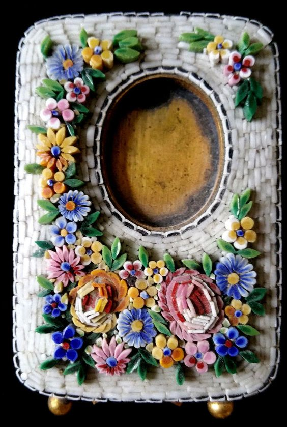 Antique Italy Micro Mosaic Brass Picture Frame Mini Jeweler Work Floral Flowers