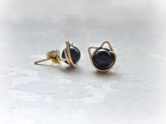 Black Cat Stud Earrings Gold Filled Posts Pet by ContempoJewelry