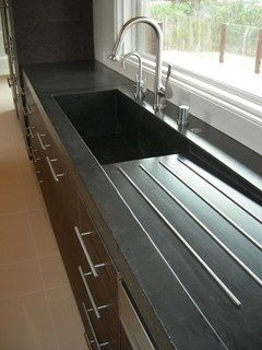 integrated stainless steel sink countertop - Google Search kitchens ...