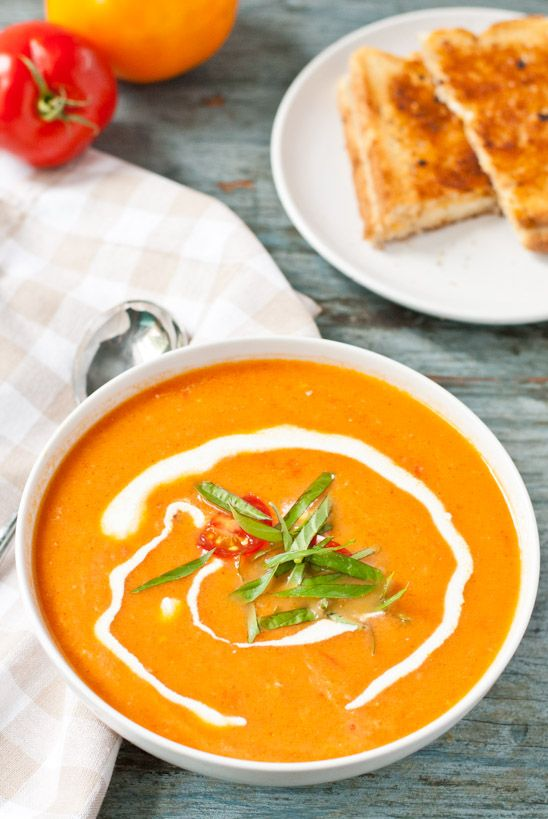 Creamy Tomato Soup made from fresh garden tomatoes. Perfect for freezing!