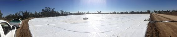 This large farm dam liner, in far west NSW will hold water for irrigation of cotton and other crops.