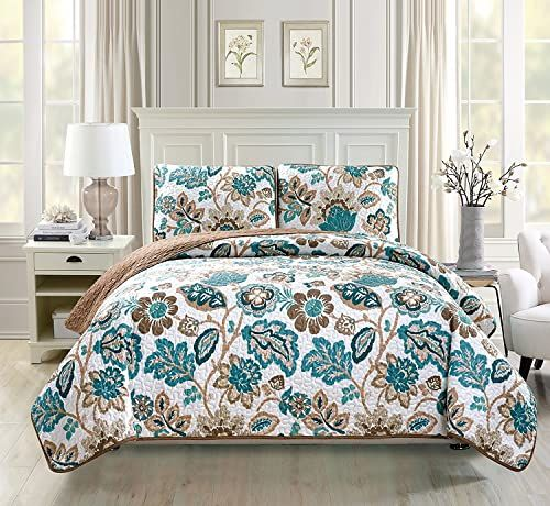 Best Seller Linen Plus King California King 3pc Quilted Bedspread Set Oversized Coverlet Floral Brown Teal White New Online Findandbuytopstyle In 2020 Bed Spreads Bedspread Set Teal Bedding