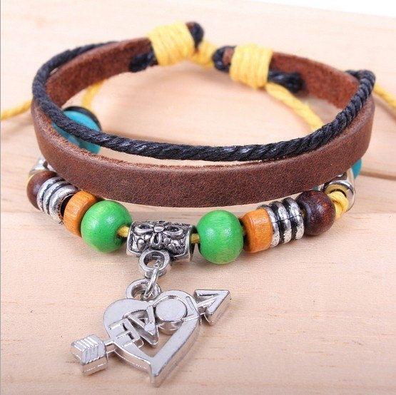 Wrap Leather Bracelet Heart Bracelet Arrow by giftleathernecklace, $5.99