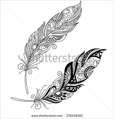 vector peerless decorative feather tribal design tattoo shutterstock vectores pinterest. Black Bedroom Furniture Sets. Home Design Ideas