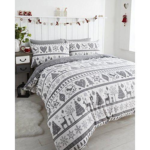 Noel Christmas Tree Snowflake Reversible Duvet Quilt Cover Bedding Set Grey Uk Super King Us King Christmas Duvet Cover Christmas Duvet Christmas Bedding