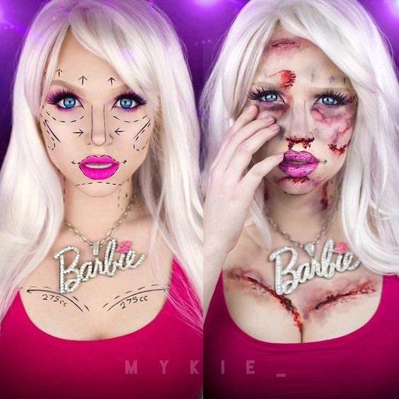 Two part Barbie tutorial. Before and after cosmetic surgery. Could be worn during the day then at night.