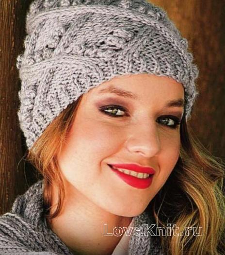Спицами объемная шапочка с «шишечками» фото к описанию