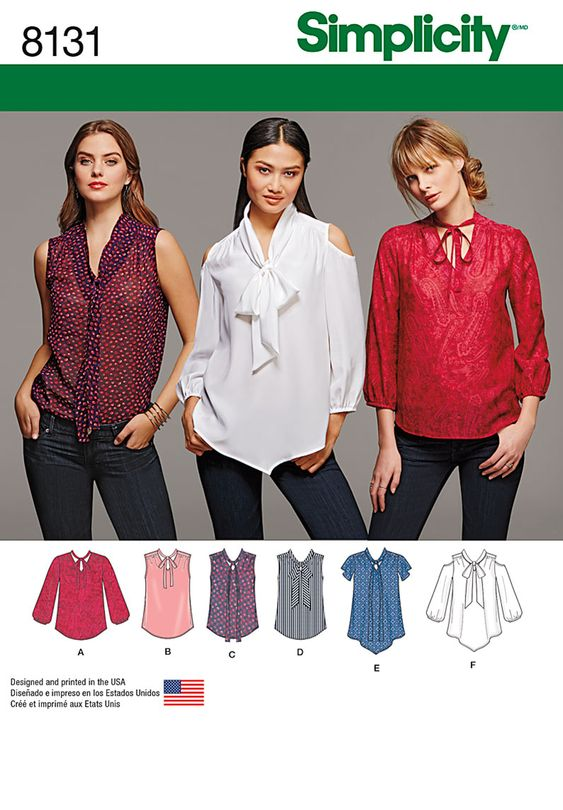 Simplicity Simplicity Pattern 8131 Misses' Bow Blouses with Sleeve Variations