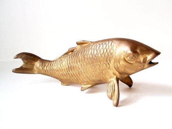 Vintage Brass Koi Fish/ Brass Carp/ Feng by DragonflyGypsySoul