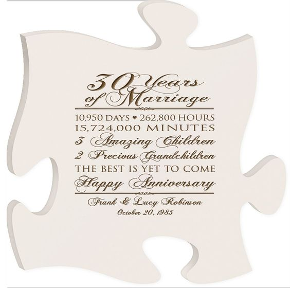 Wedding Anniversary Dates And Gifts: Personalized 30th Anniversary Gift For Him,30th Wedding