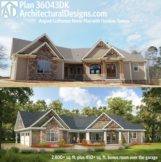 Craftsman house plans and craftsman home plans on pinterest for Angled entry house plans