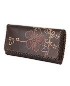 A Western inspired tri-fold wallet featuring pressed floral décor and cross stitched trim. Distressed faux leather. 10 credit card slots, one large patch pocket, and one large zippered pocket. Snap button closure.    DETAILS:  - 4' H x 7.5' W  - 100% PU  - Imported
