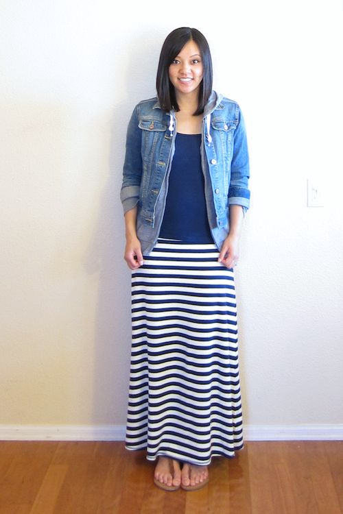 Navy striped maxi skirt outfit – Modern skirts blog for you