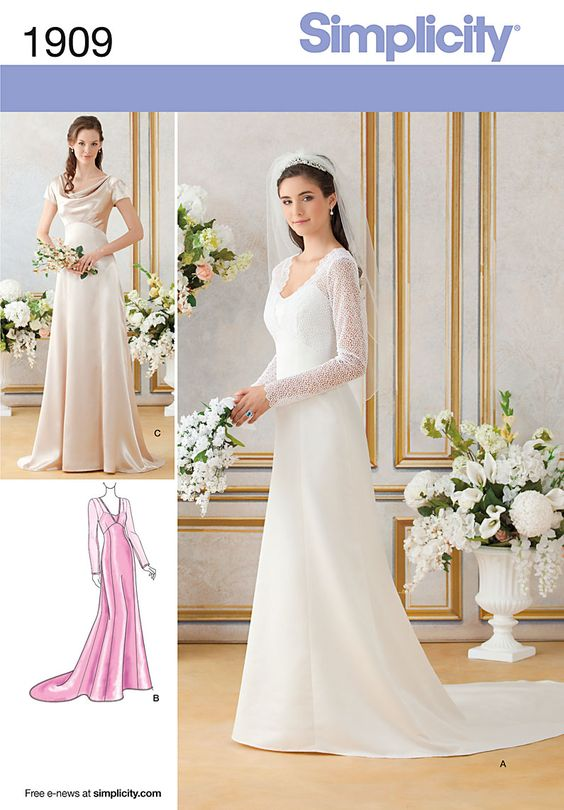 Royal wedding bridesmaid bridal formal gown dress sewing for Lace wedding dress patterns to sew