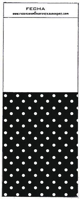 Preto e Branco com Bolinhas - Kit Completo com molduras para convites, rótulos…