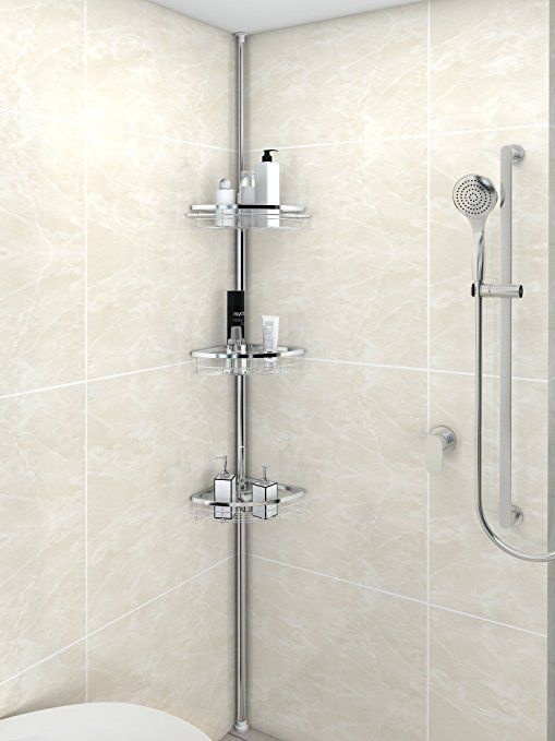 Lifewit Corner Shower Caddy 3 Tier Adjustable Bathroom Constant Tension Corner Pole Caddy Free Standing Sho Shower Caddy Best Shower Filter Corner Shower Caddy
