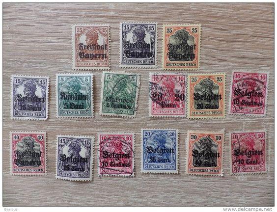 kleines Lot - Germania Marken mit Überdruck - Bayern , Rumänien , Belgien , ... - gestempelt & ungestempelt