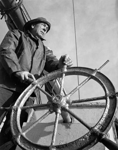 "Captain Eldon Willing of Chance, on the skipjack ""Robert L. Webster"""