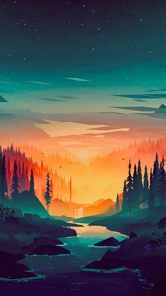 Sunrise Forest River Scenery Digital Art 8k Click Image For Hd Mobile And Desktop Wallpaper 7680x432 Sunset Artwork Nature Wallpaper Landscape Wallpaper Iphone nature drawing wallpaper